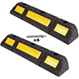 Genubi Industry 2 Pack Parking Block, Heavy Duty Rubber Curb Parking Target with Yellow Reflective Tape, Parking Stopper…