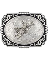 Montana Silversmiths Men's Painted Cowboy Cameo With Bull Rider Buckle