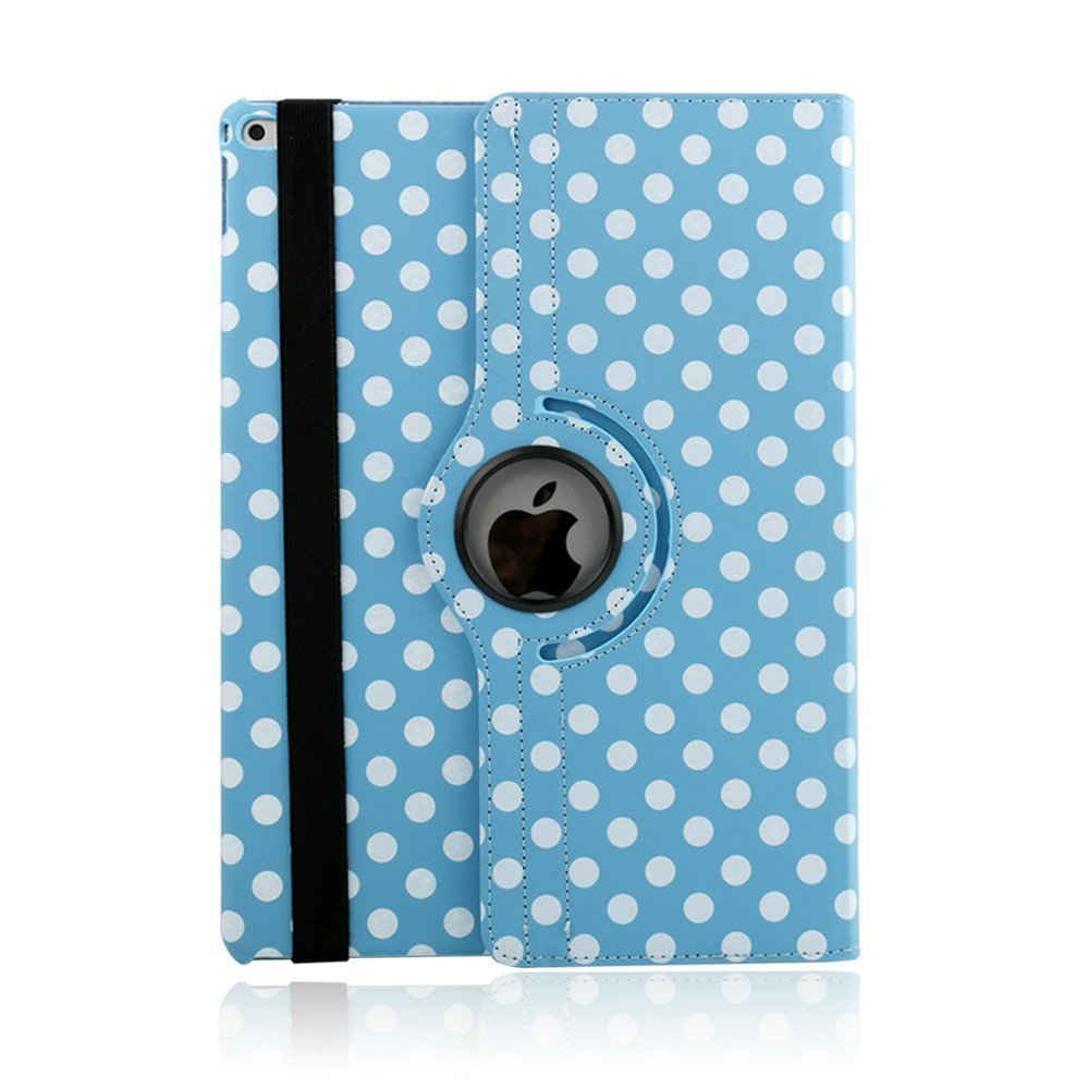 iPad 2017 5th Generation Case, elecfan PU Leather Dot Cover Smart Folio Case 360 Degree Rotating Stand Case with Auto Sleep/Wake Function for Apple 2017 iPad 9.7 Inch - Black