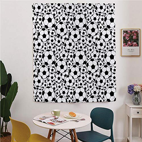 (Soccer Blackout Window curtain,Free Punching Magic Stickers Curtain,Monochrome Design Pattern of Classical Football Balls Kids Boys Cartoon Pattern,for Living Room,study, kitchen, dormitory, Hotel,Bla)