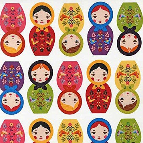 Robert Kaufman Little Kukla Russian Matryoshka Nesting Dolls Bright, 44-inch (112cm) Wide Cotton Fabric Yardage by Robert Kaufman   B00A4OZ31S
