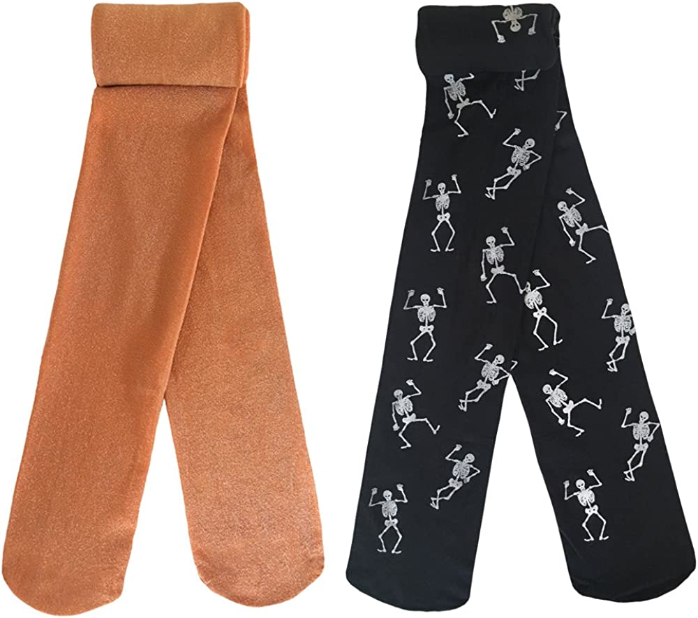 Fits 6-8 Years Black//Orange country kids Girls Fun Holiday Glow in The Dark Skeleton Novelty Tights
