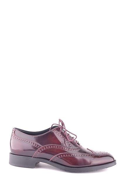 2c93c26785 Tod's Women's Mcbi29250 Burgundy Leather Lace-Up Shoes: Amazon.co.uk ...
