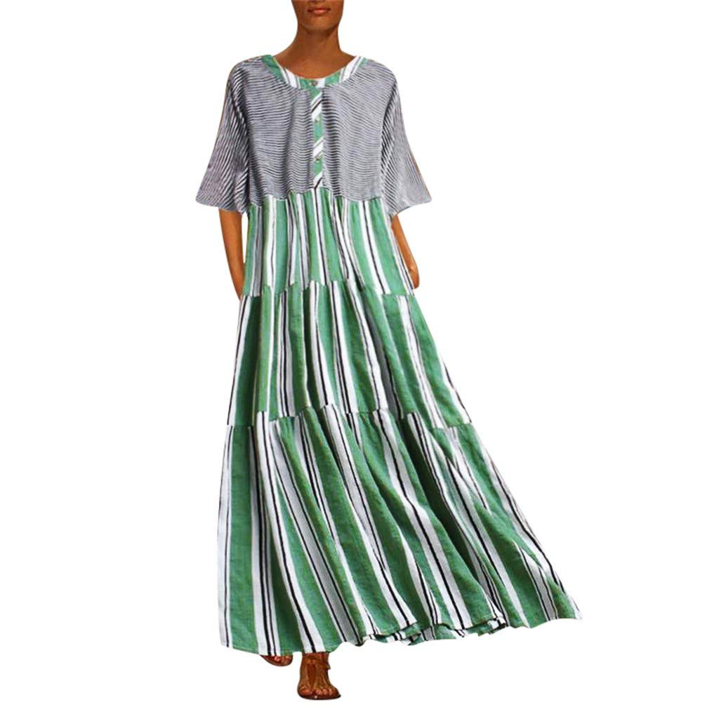 Women Summer Long Ankle-Length Dress Short Sleeve O Neck Patchwork Striped Casual Loose Fashion Beach Sundress Green