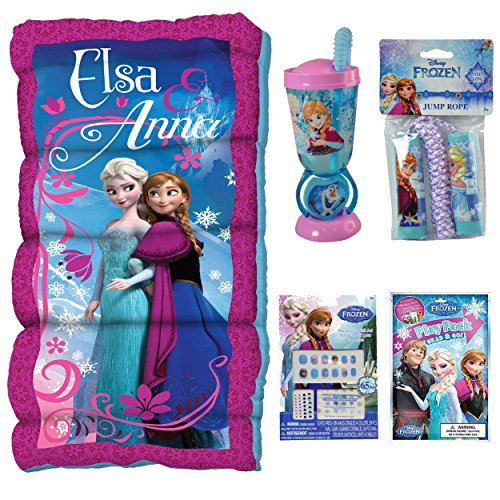Disney Frozen Sleeping Bag, Water Bottle, Jump Rope, & 95pc Stationery and Nail Gift Set