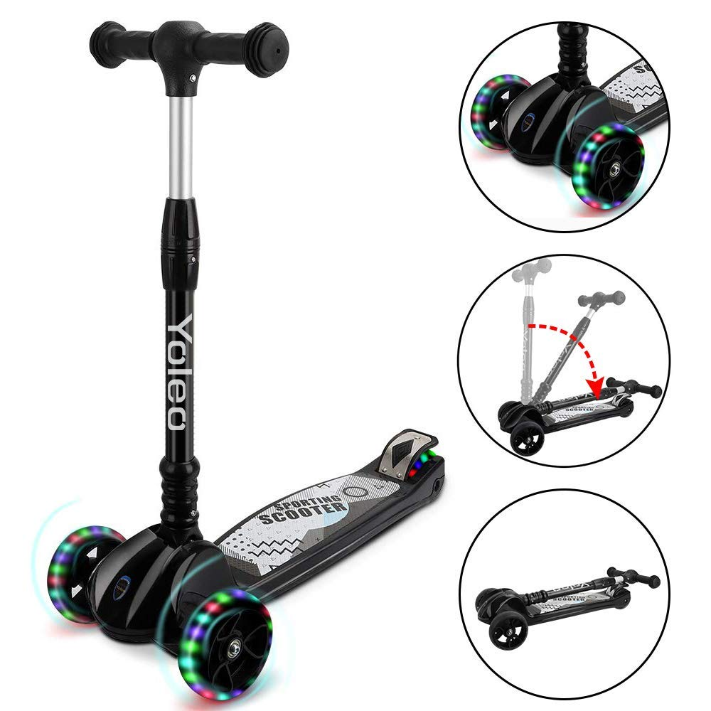 TONBUX Kids Kick Scooter Foldable 3 Adjustable Height Scooters with 3 Wheel Glider and PU Flashing Wheels Wide Deck for Toddlers Girls & Boys Ages 3-12 (Black) by TONBUX