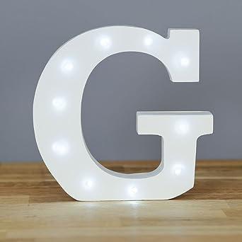 letra g con luces led letras del alfabeto decorativas de madera blanca
