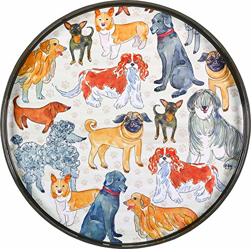 rockflowerpaper Dogville Dogs Round Decorative Lacquer Serving Tray, 18-Inch