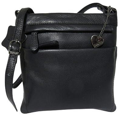 526065c300a6c Josephine Osthoff Handtaschen-Manufaktur praktische sportliche Leder Tasche  Canberra - schwarz - flach