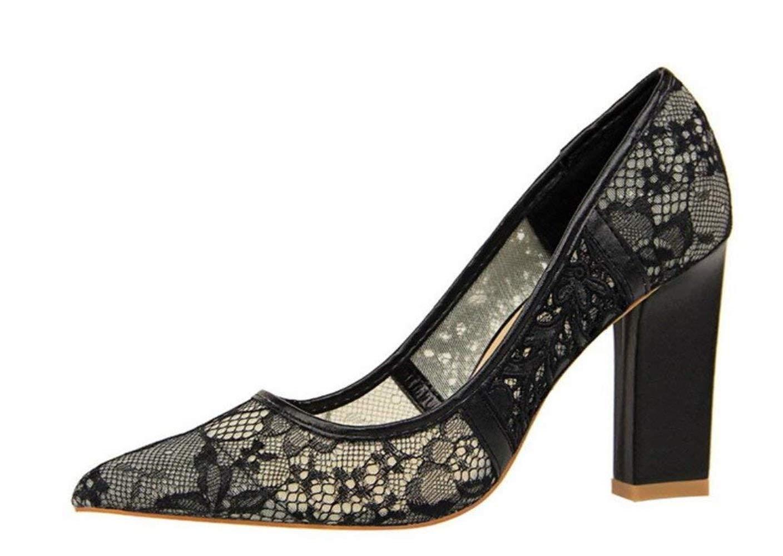 Moontang Spitzenstickerei Sandalen High Heels Braut Damen Damen Prinzessin Queen Fashion Luxus Schuhe (Farbe   Schwarz, Größe   EU39)