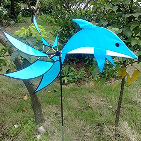 Dolphin Wind Spinner Blue Windmill Outdoor Garden Playing Beautiful, Artistic Touch To Your Space With These Beautiful (Bunny Air Dancer)