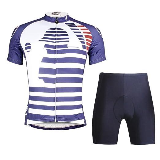 2e1254689 Amazon.com  ILPALADINO Men s Cycling Jersey Clothing Set Short Sleeve  Sports Pattern  Clothing