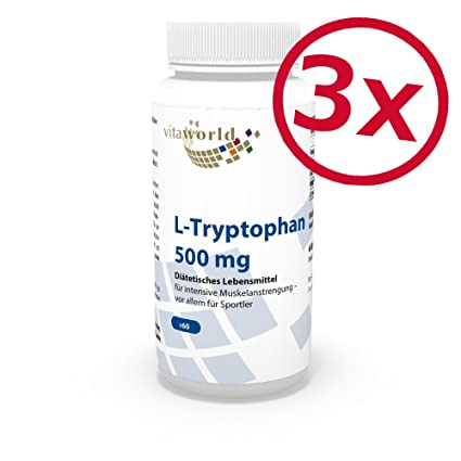 Pack de 3 L-Triptófano 500mg 3 x 60 Cápsulas Vita World Farmacia Alemania -