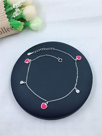 Hong Kong Is Raw Silver Green Heart Pink S925 Foot Chain Anklet Ankle Bracelet Jewelry Women