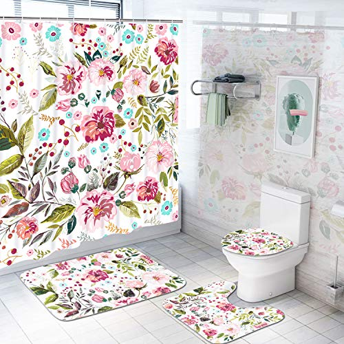 4 Piece Flower Shower Curtain Sets with Non-Slip Rug, Toilet Lid Cover, Bath Mat and 12 Hooks, Colorful Floral Shower Curtain, Durable Waterproof Bath Curtain ()