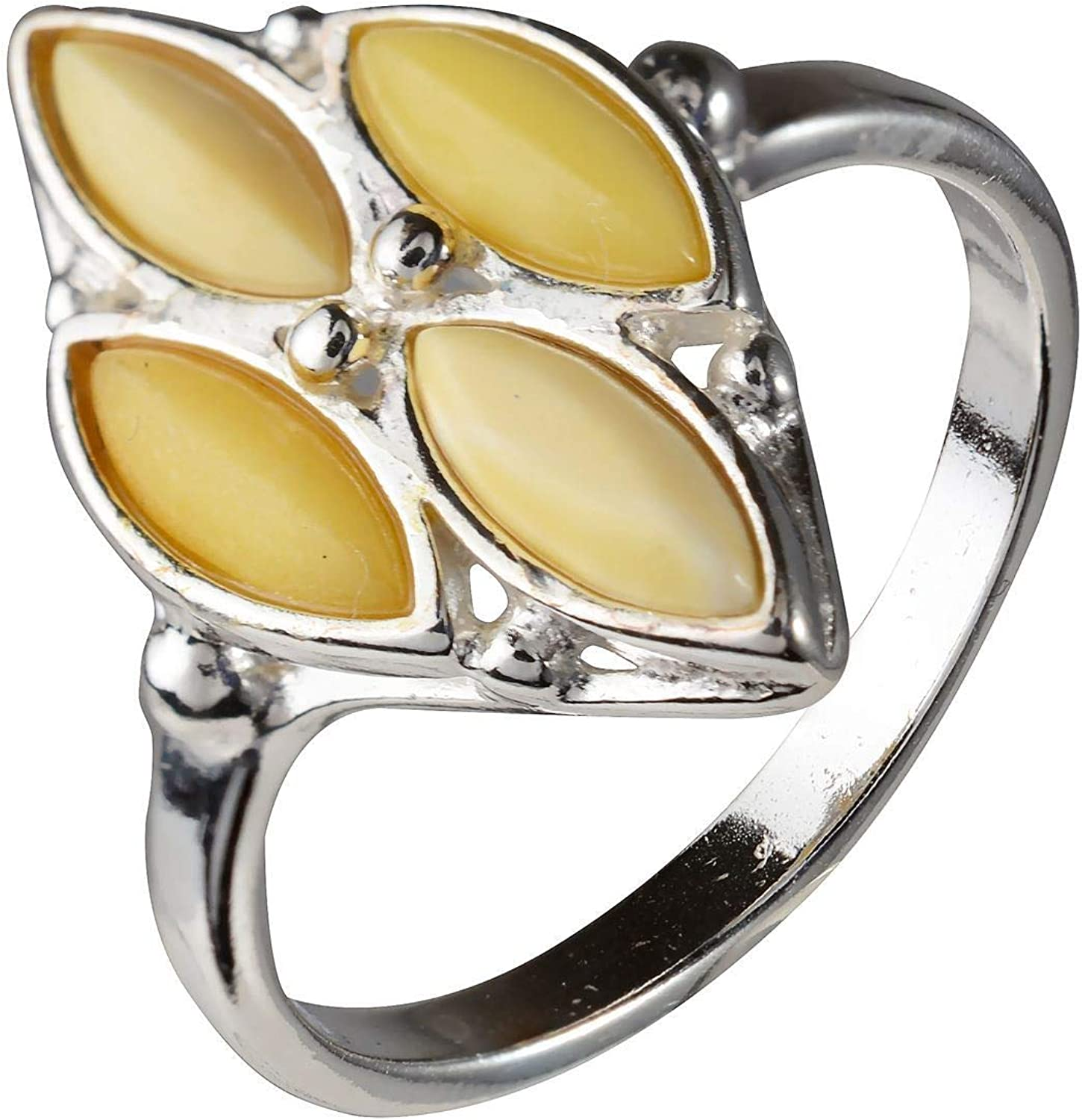 Amber Yellow Ring  Amber Statement Ring Amber Honey Ring Ring for WomenButterscotch Ring Natural Amber Ring