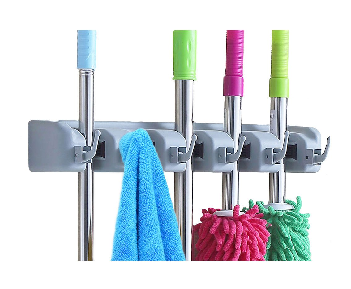 New surick mop and broom holder wall mounted garden tool for Gardening tools organizer