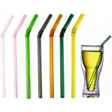"""Colored Reusable Glass Straws, 8.7"""" x 8 mm Healthy Straw for Beverages Tea Coffee, ECO Friendly - BPA Free, Pack of 7 with 2"""