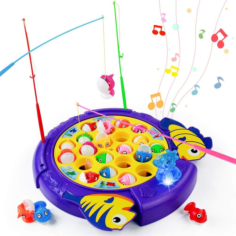 PL Juegos de Mesa para Niños-Juego de Pesca Rotativos Música Volumen Ajustable con 21 Peces de Juguete 4 Caña de Pescar Juguetes Educativos Niños Niñas 3 4 5 6 Años
