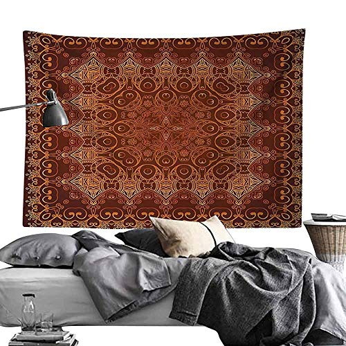 Commemorative Tapestry Antique Decor Vintage Lacy Persian Arabic Pattern from Ottoman Empire Palace Carpet Style Artprint Bedroom Home Decor W93 x L70 Orange Brown