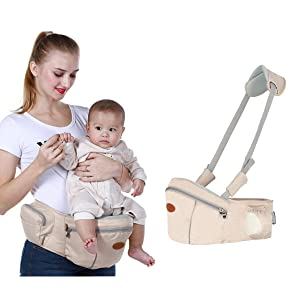 Baby Hip Seat Carrier Waist Stool – SKYROKU Baby Carrier for Child Infant Toddler with Adjustable Back Strain Relief Strap Safety Certified (Khaki)