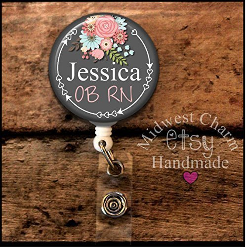 gray/floral..Retractable badge holder, nurse gift, ob, L&D, id holder, reel, RN, LPN, CNA Personalized Christmas Gift Midwest (Reel Charm)