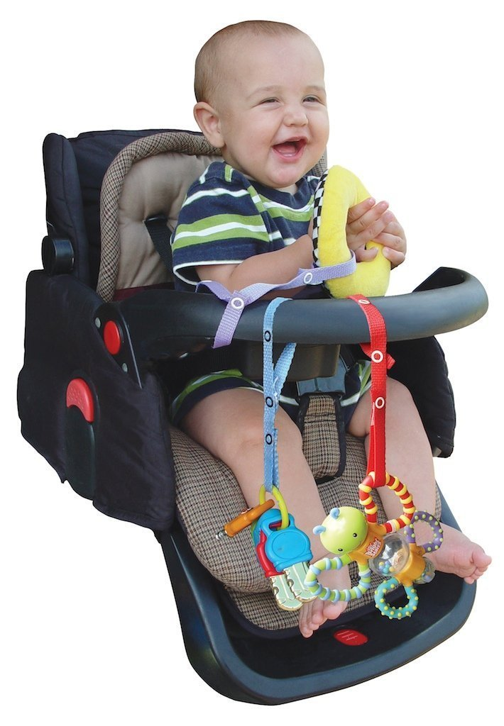 Baby Buddy Secure-A-Toy, Safety Strap Secures Toys, Teether, or Pacifiers to Strollers, Highchairs, Car Seats—Adjustable Length to Keep Toys Sanitary Clean Black-Tan 2 Count by Baby Buddy (Image #2)