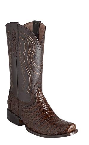 Estampida Boots Men's Deep Croc Roper Leather Western Boots Shedron Deep Croc-Bighorn 8