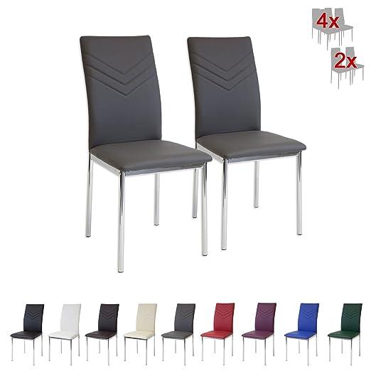 100 opinioni per Albatros 2936 VERONA Set di 4 sedie da pranzo, grigio, piede cromato, SGS tested