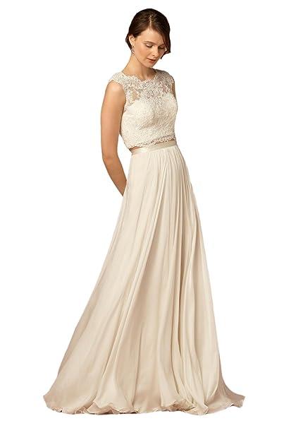 Engerla Mujeres A de linea Punta gasa larga playa vestido de novia vestido de boda Blanco