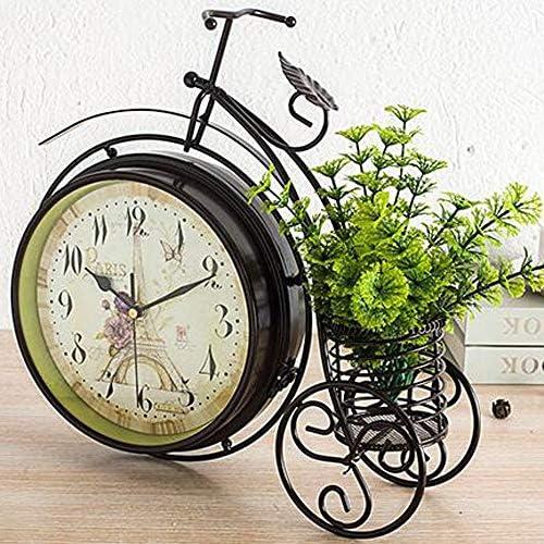 KUQIQI 両面置時計シートクロックヨーロッパ式サイレントリビングルームの装飾時計クリエイティブファッションワインキャビネットホームデスクトップクロック両面ホワイト、コーヒーカラー (Color : Brown)