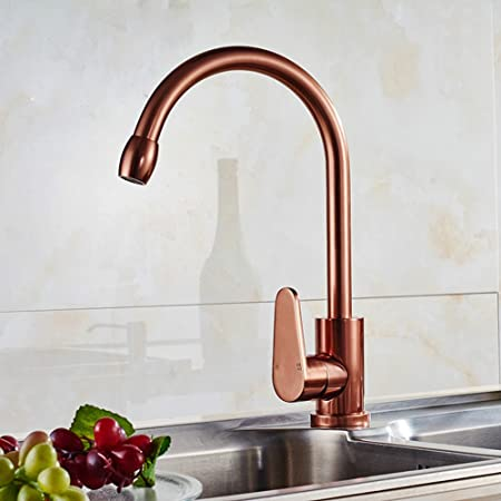 SAEJJKitchen Sink Taps Space Aluminum Rose Gold Kitchen Faucet Sink - Rose gold kitchen faucet