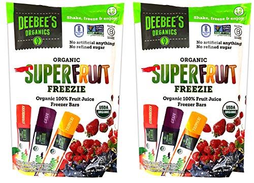 Deebee's Organic Superfruit Freezie Pops - Organic 100% Fruit Juice Freezer Bars (Pack of 24) by Deebee's