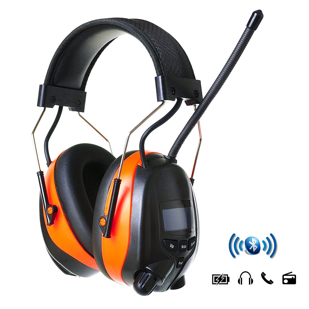 PROTEAR Hearing Protection Wireless Bluetooth AM FM Radio Headphones with Rechargeable Battery - NRR 25dB Professional Noise Reduction Safety Ear Muffs for Working/Lawn Mowing/Construction