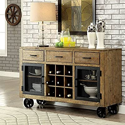 Furniture of America Camen Dining Server - Dimensions: 58.75W x 17.5D x 36H in. Solid pine wood and metal construction Weathered wood brown finish - sideboards-buffets, kitchen-dining-room-furniture, kitchen-dining-room - 61kfy0Ai1nL. SS400  -