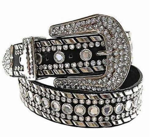 Deal Fashionista Women's Western Rhinestone Chrome Studded Rodeo Cowgirl Belt M Black