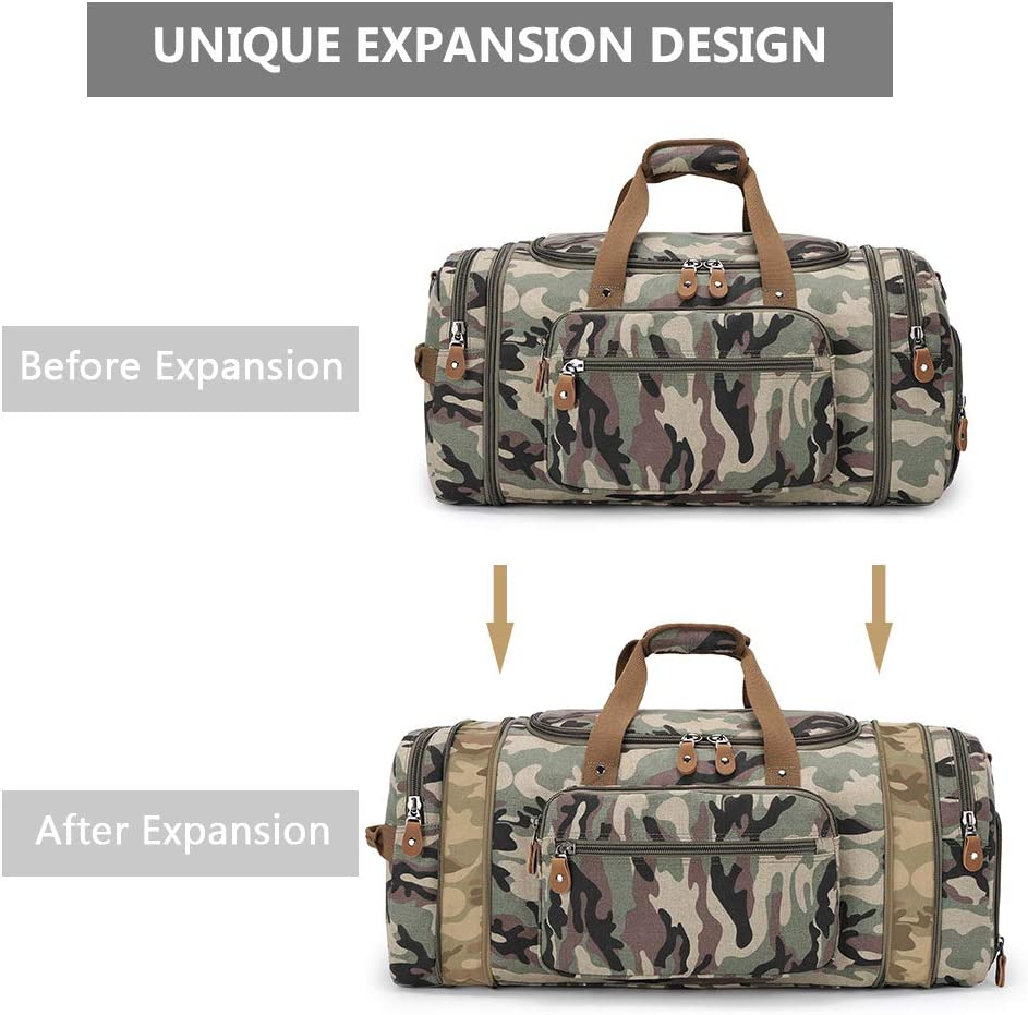 Plambag 50L Multi-Pockets Overnight Travel Bags Carry On Luggage Weekender Bag Men and Women 60L Expandable Canvas Duffle Bag with Shoes Compartment Large Holdall Bag for Men with Trolley Sleeve