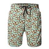 Pretzels Men Shorts 100% Polyester Elastic Fashion Hot Sale Not Shrink Beach Shorts Swim Trunks