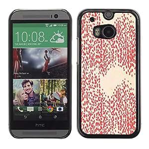 For HTC One M8 Case , White Pattern Wallpaper Art - Diseño Patrón Teléfono Caso Cubierta Case Bumper Duro Protección Case Cover Funda