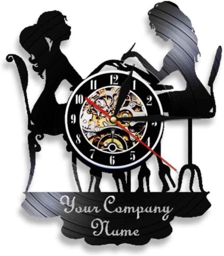 LiHiFG Salón de SPA Personalizado, Letrero de Pared de Negocios, decoración de Pared, salón de uñas, personificó su Nombre, Reloj de Pared con Registro de Vinilo, Reloj de Arte de Moda Polaco