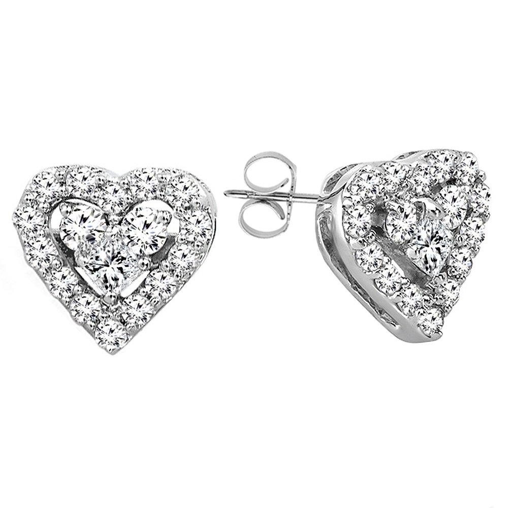 0.55 Carat (ctw) 10K White Gold Round & Princess White Diamond Heart Shaped Earrings