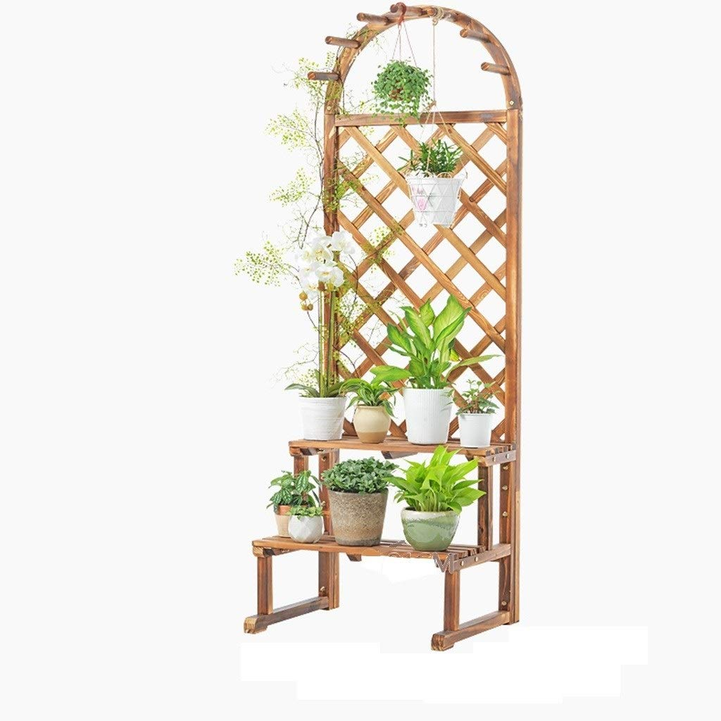 ZHAO YING Solid Wood Thick Multi-Layer Can Be Hung Floor-Standing Garden Flower Stand Potted Debris Neatly Arranged (Color : Wood Color, Size : L)