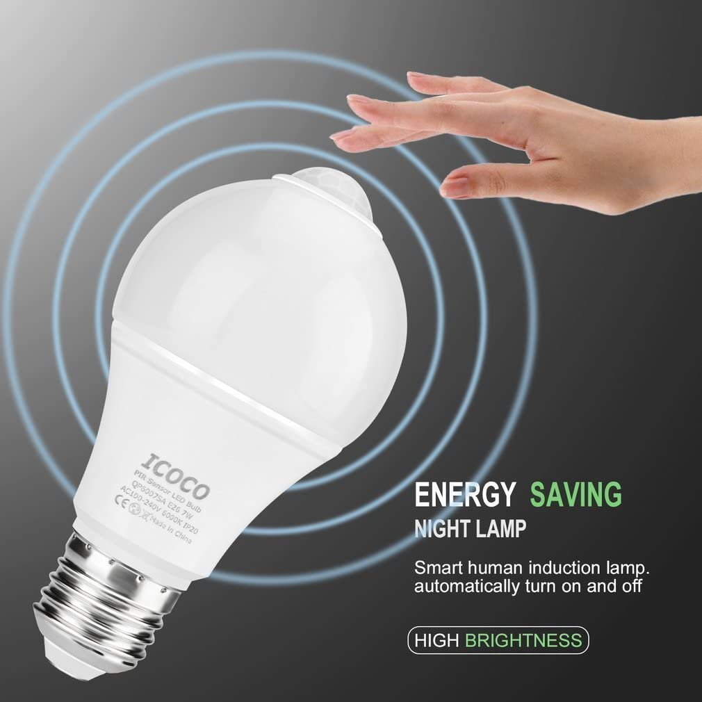 E26 Sensor Lights Bulb A19 7W Automatic LED Bulbs Indoor//Outdoor Lighting Bulb for Porch Front Door Garage Basement 5000k Daylight White, 2 Pack LEDERA Dusk to Dawn Light Bulb