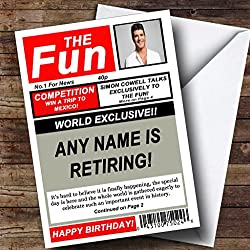 Funny Joke Spoof Newspaper Personalized Retirement Greetings Card
