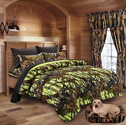 20 Lakes Neon Green Lime & Black Camo Comforter, Sheet, & Pillowcase Set (Twin, Neon Green - Black) (Green Camo Twin Bedding)