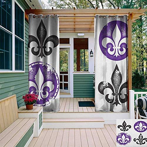 (leinuoyi Fleur De Lis, Outdoor Curtain Ends, Collection of Fleur De Lis Designs Silhouettes Vintage Artistic Spiral Art, Fashions Drape W96 x L108 Inch Black Purple)