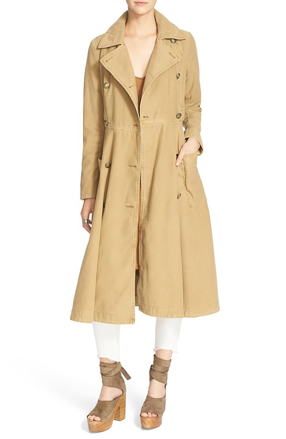 Free People Women's 'Full Sweep' Cotton Trench Coat (Small, Beige) by Free People