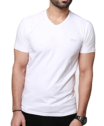 88b39a688 ZEYO Mens V Neck Half Sleeve Tshirt White Regular Fit Printed T-Shirt:  Amazon.in: Clothing & Accessories