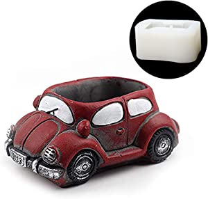 Cute Cartoon Car Vehicle Shaped Resin Pots Silicone Mold Succulent Plants Container Flower Planter Flowerpot Mould Homemade Garden Office Decor Perfect Gift