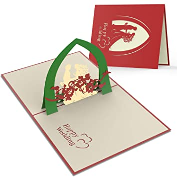2 Stück Hochzeit Karte Handgemachte 3d Pop Up Romantische Hochzeitstag Karte Für Paare Spezielle Karte Für Herzlichen Glückwunsch Und Einladung Hather